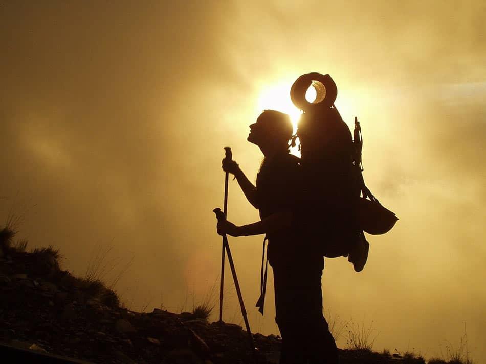 trekking e tramonto
